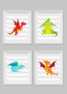 Dragon Nursery Art Boy's Room Decor Chevron by SweetPeaNurseryArt