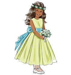 mom could make this.  flower girl dress, but ivory and with a blue sash, simple but pretty