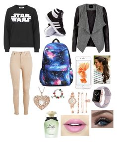 """""""Star Wars premiere """" by leila-hussain ❤ liked on Polyvore featuring Tee and Cake, adidas, Anne Klein, Fiebiger, Dolce&Gabbana and Bling Jewelry"""