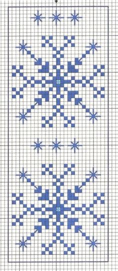 Blue Snowflakes. Cross stitch chart. #cross_stitch