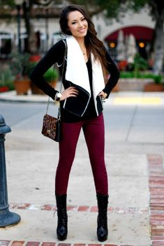 black and white shearling vest. Love this outfit!