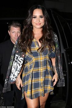 'LA that was so much fun!' Demi Lovato donned a grey graffiti jacket marked 'less money more problems' for her performance at Break Room 86 in Los Angeles on Monday night Yellow Plaid Shirt, Demi Lovato Style, Star Wars, Looks Style, Celebrity Crush, Celebrity Style, American, Girl Crushes, Role Models