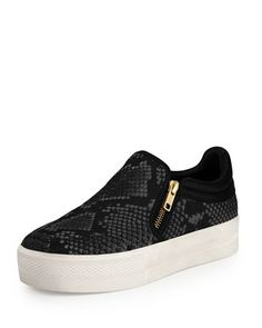 Jordy Snake-Print Sneaker, Black by Ash at Bergdorf Goodman.