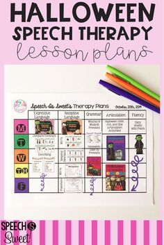 Visual lesson plans for Halloween speech therapy! These plans include resources for expressive and receptive language, grammar, articulation, and stuttering!
