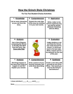 how the grinch stole christmas extension menu grinch proble solving activity pdf math - How The Grinch Stole Christmas Activities