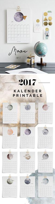 Printable Kalender Watercolor Moon Calendar 2017 – via sodapop-design. Diy Tumblr, Printable Planner, Printables, Printable Calender, Ideias Diy, Calendar Design, Diy Videos, Diy Paper, Room Inspiration