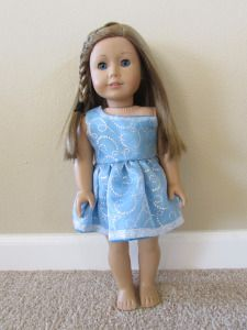 American Girl Doll: One-Shoulder Blue Glitter Dress with Pattern