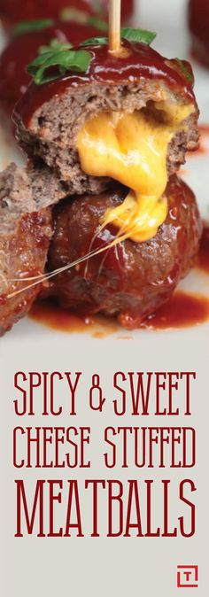 Spicy & Sweet Cheese Stuffed Meatballs