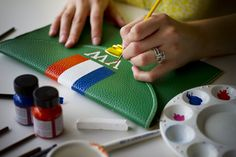 Hand-painted monogram clutches, only at Jewelry Nut Auctions!