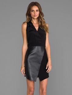 Tibi leather wrap dress