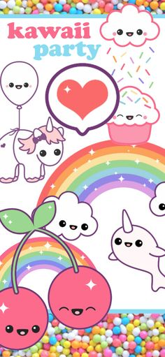 Cute Rainbow Kawaii Party Theme - chibi unicorns narwahls and cupcakes. Personalized invitations and decor - perfect birthday party theme for girls Wallpaper Iphone Cute, Cute Wallpapers, Amazing Gumball, Nintendo Room, Earth Drawings, Cute Rainbow Unicorn, Monster Illustration, Kawaii Chibi, Personalized Invitations