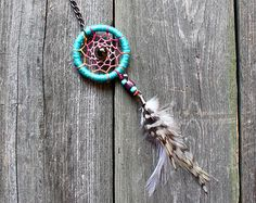 Dreamcatcher Keychain - Purse Charm - Blue - Pink - Key Chain - Small Dream Catcher - Boho Keychain - Hippie - Bohemian