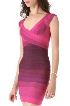 Color Block V Neck Sleeveless #Bandage #Dress.