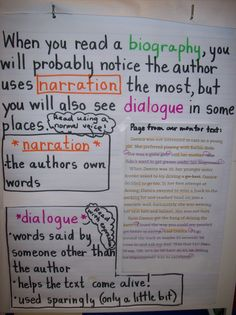 Biography lesson on how author uses narration and dialogue