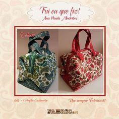 Bolsas feitas pela artesã Ana Paula Medeiros do Pink e Avelã Ateliê com tecidos da coleção Cashmere.