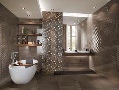 love the metallic mosaic tiles