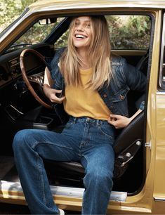 Mango. Natural State Winter 15 Look Book.   Loving the navy denim and mustard and of course Sasha Pivovarova working it!
