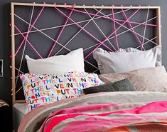 A headboard can make a huge statement in a bedroom. Although, sometimes it's hard to find that perfect headboard to go with your king or queen bed, which is why we came up with this list for you. Cheap Diy Headboard, Diy Headboards, Headboard Designs, Headboard Ideas, Teen Girl Bedrooms, Small Bedrooms, Diy For Girls, Cool Diy, Diy Furniture