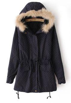 Abrigo con capucha mangas largas-Marino