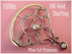 1880s Edwardian ~ 10K Gold Sterling Silver - Mine Cut Diamond Pendant Brooch Estate  @@ FREE SHIPPING @@
