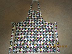 Geometric Animal Print with Bright Pink, Turquoise & Yellow Cotton (coordinating backing-no pockets) - Adult Sized Apron by ShawnasSpecialties on Etsy