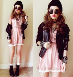 Yes Style Babydoll Dress, Diesel Leather Jacket, Yes Style Lace Up Boots, 80s Purple Circle Sunnies