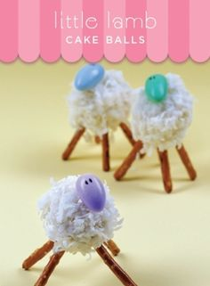 Little Lamb cake balls - not going to all this trouble, but they sure are cute!