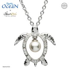 The turtle pearl pendant necklace is crafted in Sterling silver and embellished with clear and sparkling Swarovski® crystals and a flawless Swarovski ® pearl. Pearl Pendant Necklace, Shell Pendant, Silver Necklaces, Silver Jewelry, Ocean Jewelry, Dolphin Jewelry, Jewelry Sites, Necklace For Girlfriend, Silver Pearls