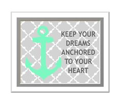 Dorm Room Decorating Anchor Art Print Custom Colors by woodendoll, $10.00