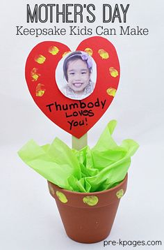 EasyMother's Day Thumbprint Keepsake Craft Kids Can Make for Mom or anybody special in lives! The perfect Mother's Day craft for your preschool or kindergarten kids. - Pre-K Pages