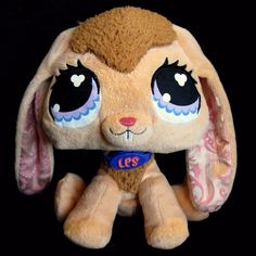 Littlest Pet Shop LPS Bunny Plush Peach Long Eared Rabbit Easter Stuffed Animal #Hasbro
