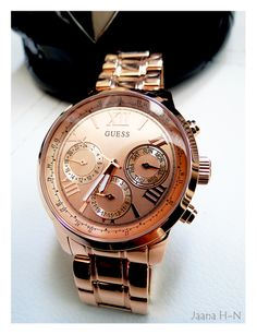 Guess Sunrise W0330L2 Rose Gold Watch. Love it! Michael Kors Watch, Gold Watch, Rolex Watches, Sunrise, Bling, Rose Gold, Accessories, Shoes, Fashion