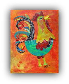 Rooster art Original collage 8 x 10 by JackieGuttusoDesigns, $75.00