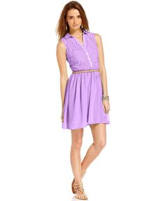 American Rag Juniors Dress, Sleeveless Belted Lace - Juniors Dresses - Macys