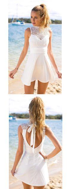 2017 Homecoming Dress White Lace Bowknot Short Prom Dress Party Dress JK081