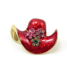 Red Enamel Red Hat Pin Gold Tone Brooch Red by TreasureTrovebyTish