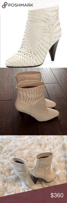 Derek Lam 10 Crosby Dannie Woven Ankle Boot. Derek Lam 10 Crosby Dannie Woven Ankle Boot.  Pointed toe.  Pull-on style.  Leather sole.  Heel:  3.5 Color:  Cream.   Size: 6.5.  Sold Out at Neiman Marcus 10 Crosby Derek Lam Shoes Ankle Boots & Booties