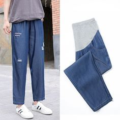 The pregnant women wear before birth adjustable waist pants is so causal and loose you may like it. #maternitypants #maternityloosepants #maternitybottom Soft Pants, Loose Pants, Maternity Pants, Elastic Waist, Birth, Pregnancy, Women Wear, Sweatpants, Jeans