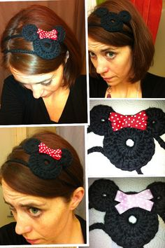 Mickey and Minnie Mouse Crochet Headbands. No pattern but I can probably figure it out :) Crochet Crafts, Crochet Yarn, Yarn Crafts, Crochet Headbands, Crochet Hair Accessories, Crochet Hair Styles, Learn To Crochet, Crochet For Kids, Yarn Projects