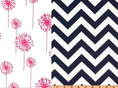 Reversible Duvet Cover Candy Pink Dandelions and Navy Chevron Dorm Twin, Twin and Full / Queen on Etsy, $135.00
