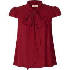 Orla Kiely Solid Silk Crepe Neck Tie Blouse - Polyvore