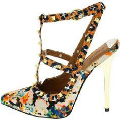 New multi color heels Multi color studded heels,gold 4.5in heel,side buckles Shoes Heels