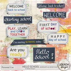 Hello School Bundle, a digital scrapbooking kit from MyMemories Digital… Welcome Back To School, Starting School, Hello Welcome, Schools First, School Today, Grow Together, Happy Day, Digital Scrapbooking, Learning