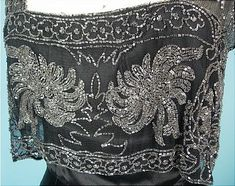 c. 1930's Black Silk Charmeuse Bias Cut Gown with Beaded Net Bodice! Museum Deaccession. Detail