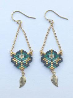 """Boucles d'oreille - """"Zen"""" - Boucles tissées main en perles Miyuki, et plaqué or 14 carats ..."""