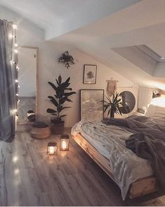 cozi homes on We are in love with this cozy bedroom! The low bed and the soft string lights give the room such a relaxing and cozy vibe. Room Ideas Bedroom, Bedroom Loft, Home Decor Bedroom, Attic Bedroom Ideas For Teens, A Frame Bedroom, Rustic Teen Bedroom, Cozy Master Bedroom Ideas, Cozy Teen Bedroom, Bedroom Ideas Master On A Budget