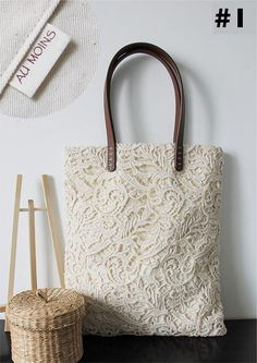 Make to Order: Shabby Chic  Rustic Handmade Beautiful Lace Tote L011
