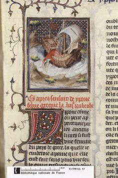Suicide of Hippo. From Boccacio, de mulieribus claris/Le livre de femmes nobles et renomées (trad. anonyme), early 15C French (Paris). Bibliothèque nationale, Paris. MS Français 598, fol. 83. Abducted by an enemy fleet, Hippo threw herself into the waves when she learned her captors were planning to rape her. (based on tale in Valerius Maxiumus)