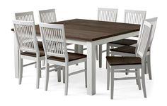 Produktbild - Dalarö, Matgrupp i vitlack och rökfärgad ek med 1 iläggsskiva, och 8 stolar Läckö
