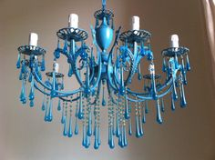 Aqua blue chandelier with Murano aqua drops, vintage repurposed, 10 arms, free shipping worlwide on Etsy, $1,100.00